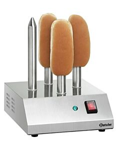 Hotdogspiestoaster Bartscher, RVS, met 4 toaststangen, 230V/190W