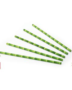 Drinkrietje papier (FSC) bamboe look, Ø 6 mm / 20cm, 24x200 per zak