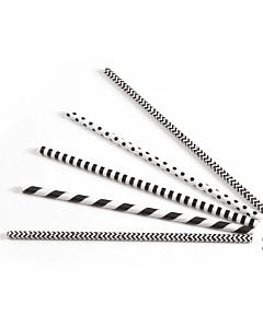 Drinkrietje papier (FSC) zwart/wit assorti Ø 6 mm / 20cm, 24x200 per zak